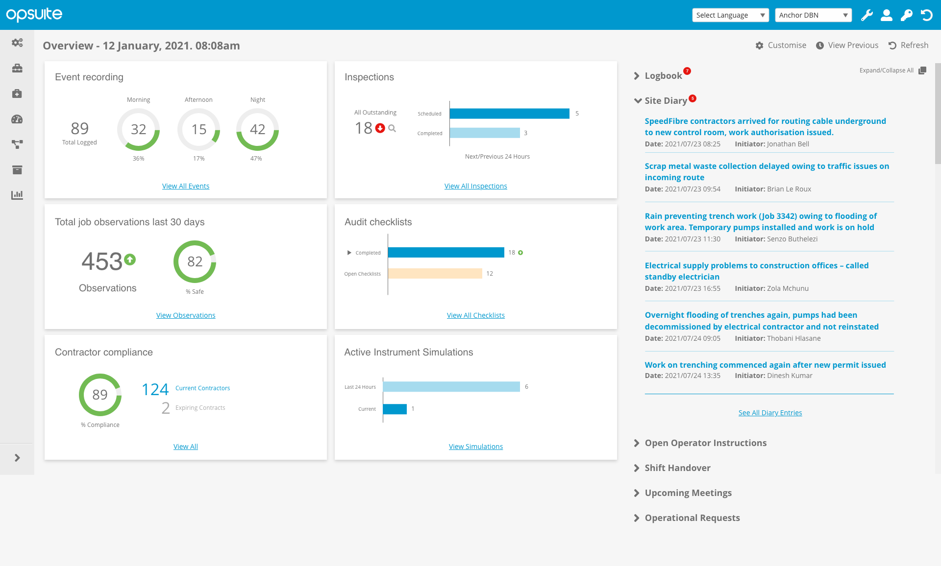 OpSUITE Dashboard Site Diary Open