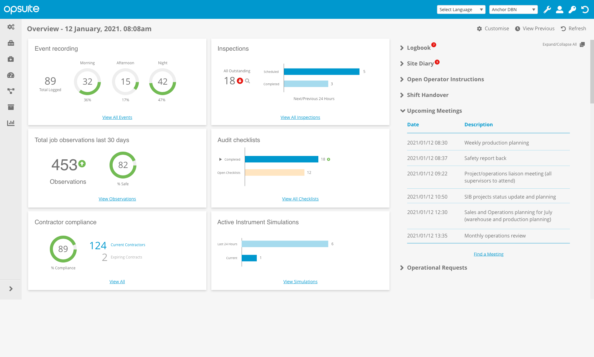 OpSUITE Dashboard Upcoming meetings open